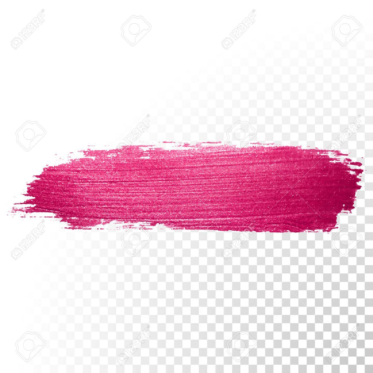 Vector pink watercolor brush stroke. Abstract polish splash trace shape. Red oil paint smear line on transparent background - 52889576