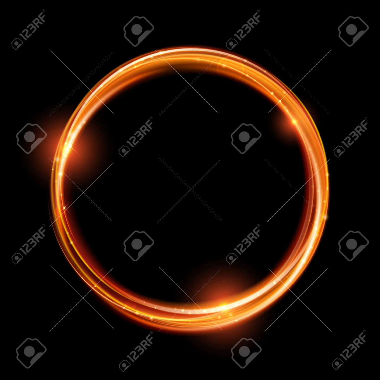 Vector magic gold circle. Glowing fire ring trace. Glitter sparkle swirl trail effect on black background. Bokeh glitter round wave line with flying sparkling flash lights. - 52889862