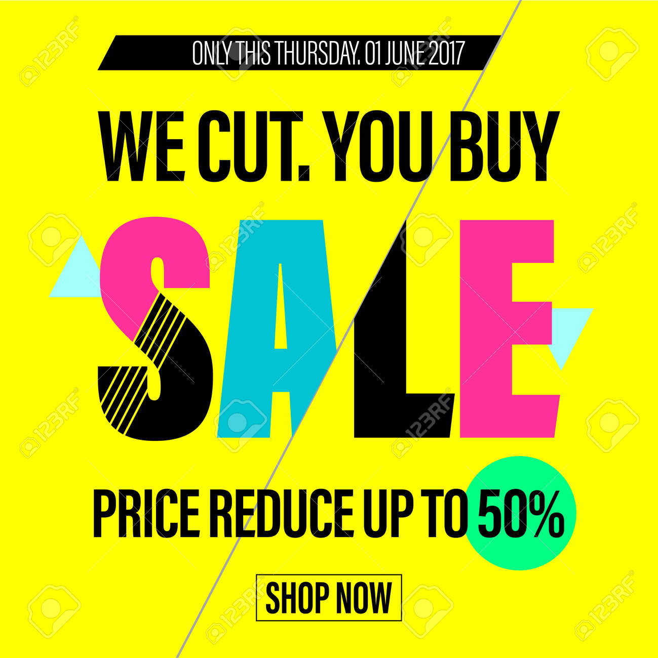 Price for a poster design - Vector Spring Sale Discount Poster Price Reduction Promotion Banner Gift Card With Lettering Glitch