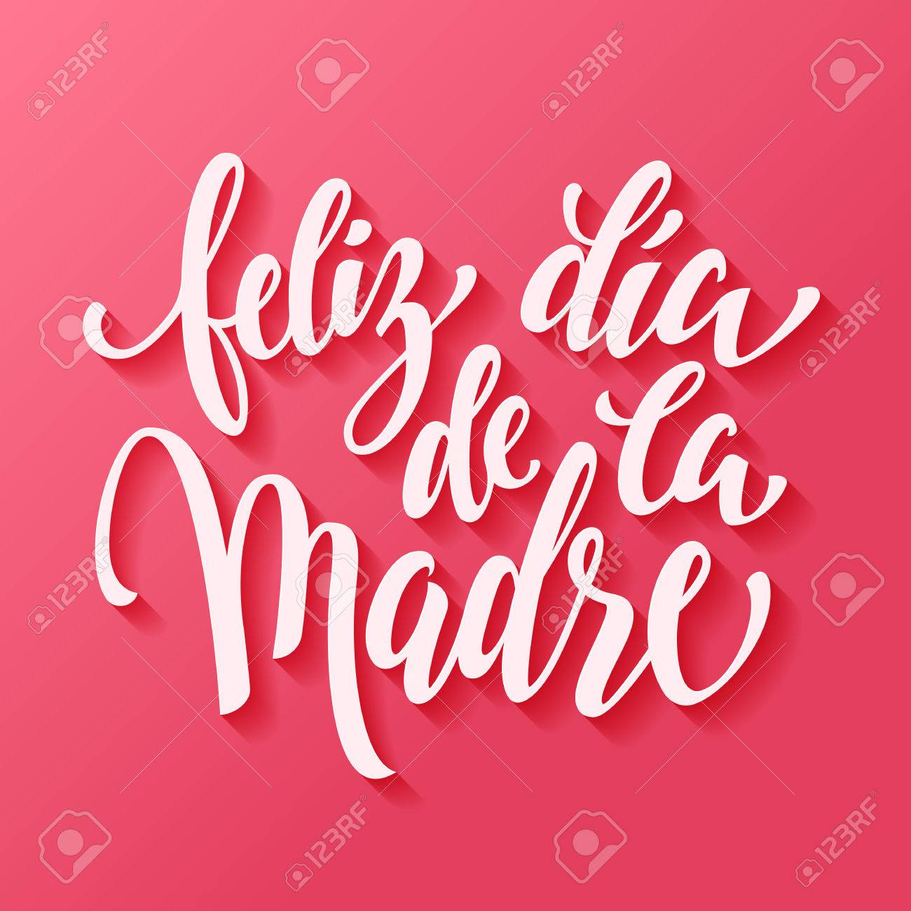 Feliz dia de la madre. Mothers Day vector greeting card. Hand drawn lettering title in Spanish. Pink red background. - 54612192
