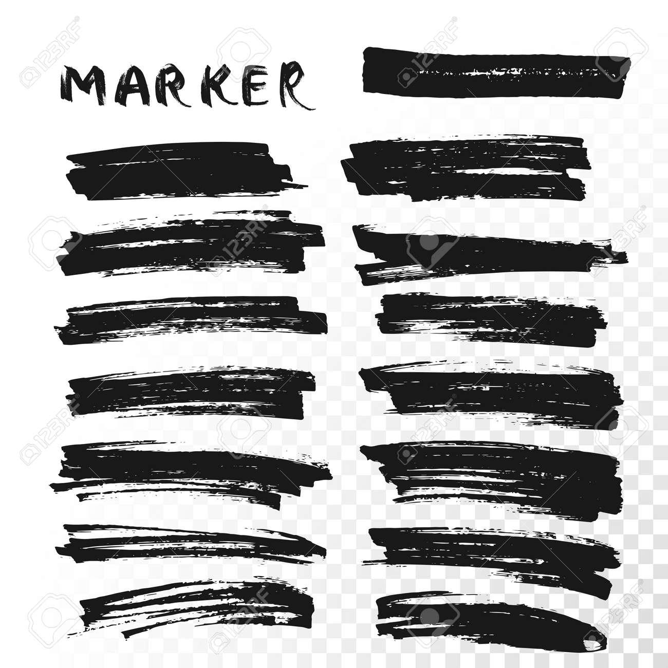 Vector highlighter brush lines. Marker pen highlight underline strokes. Black watercolor hand drawn highlight set - 55702525