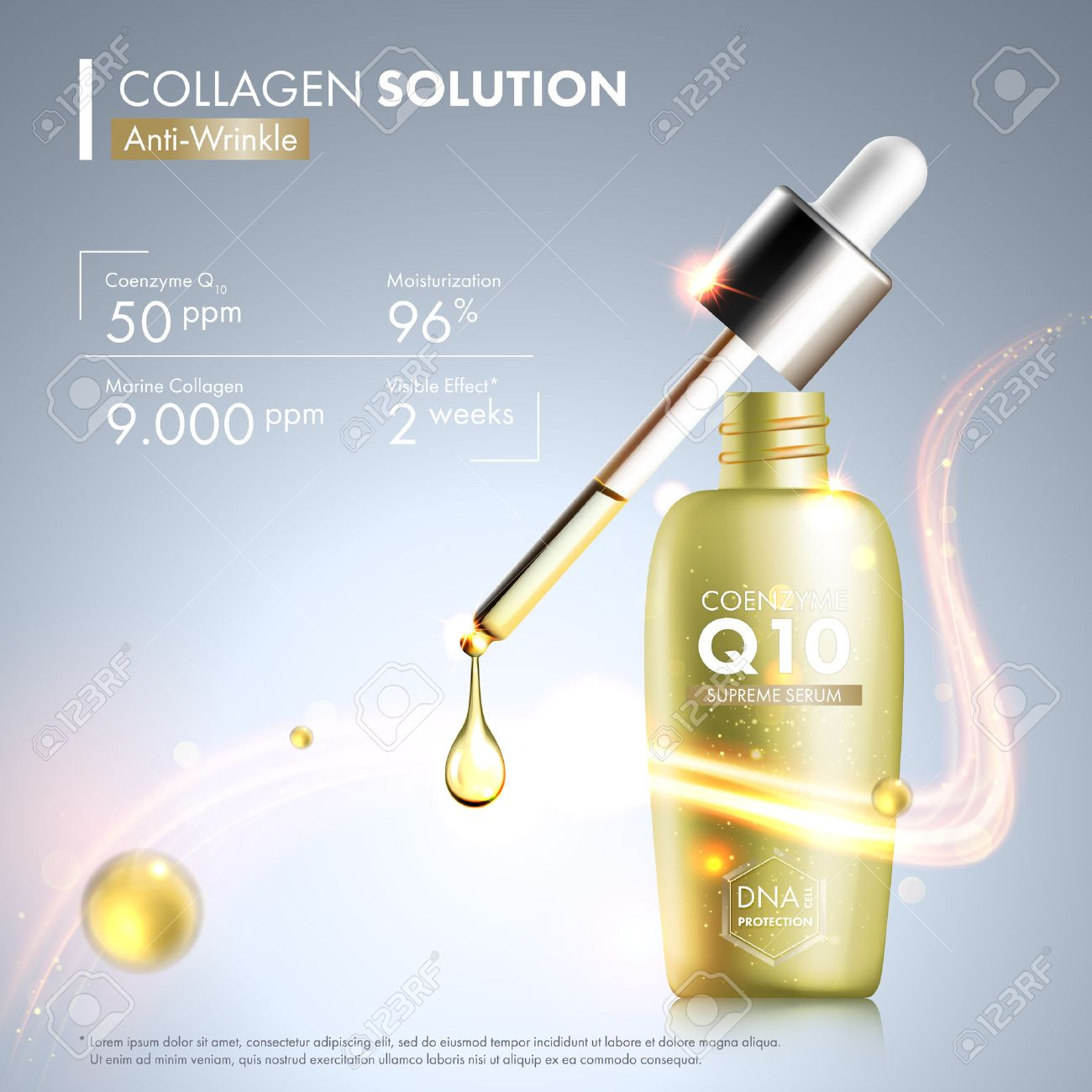 4caaeb6a130 Coenzyme Q10 serum essence bottle with dropper. Skin care moisturizing  treatment vial design. Anti