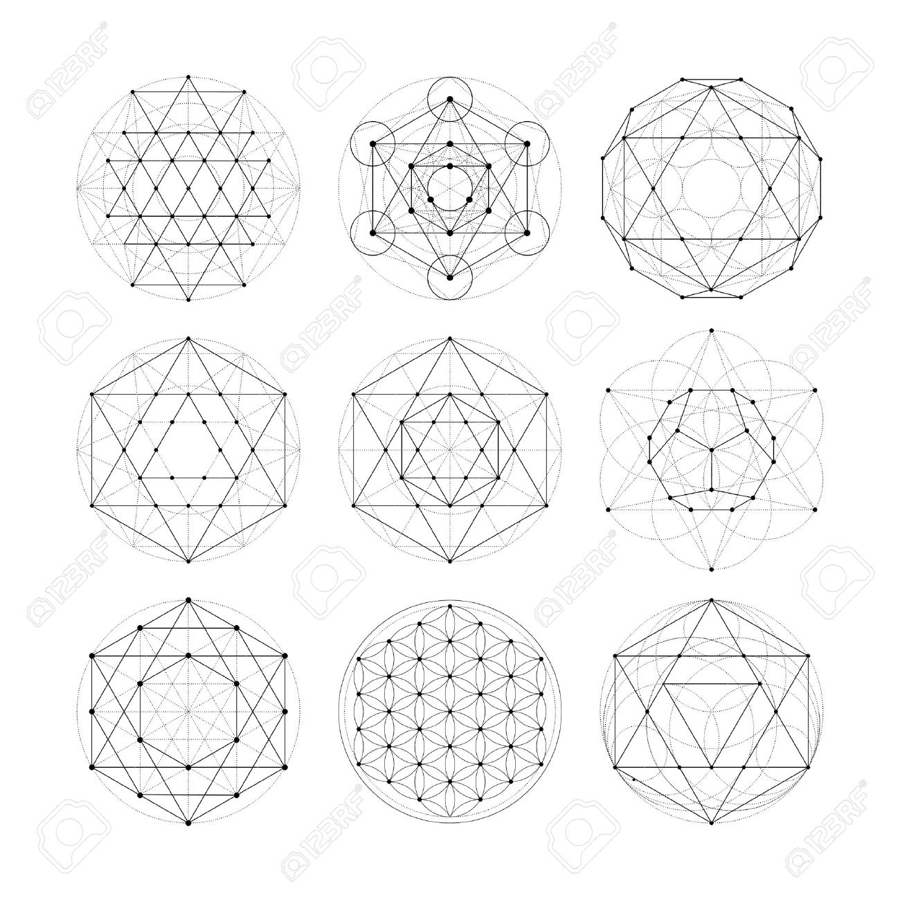 Numerology astrology signs and symbols. Hipster esoteric sacred geometry abstract pattern illustration. Sacral flower of life symbol. Metatrons Cube. Banque d'images - 56301701