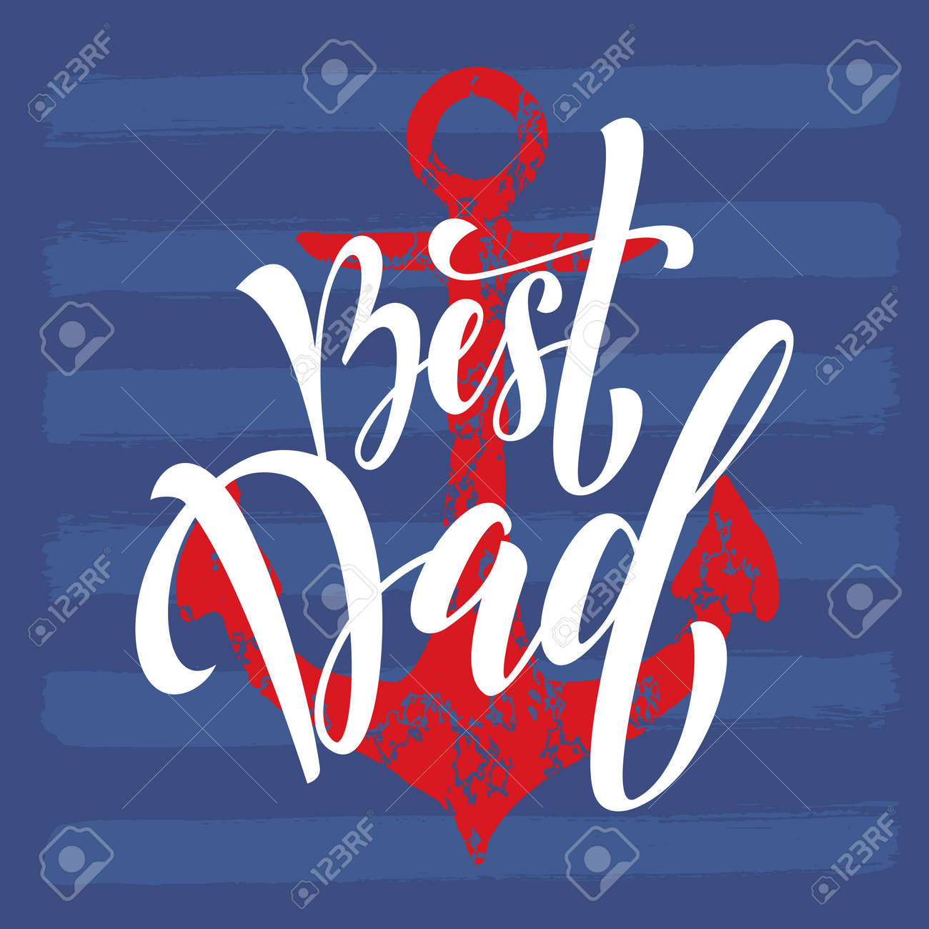 Fathers Day Best Dad Vector Greeting Card Anchor Nautical Marine