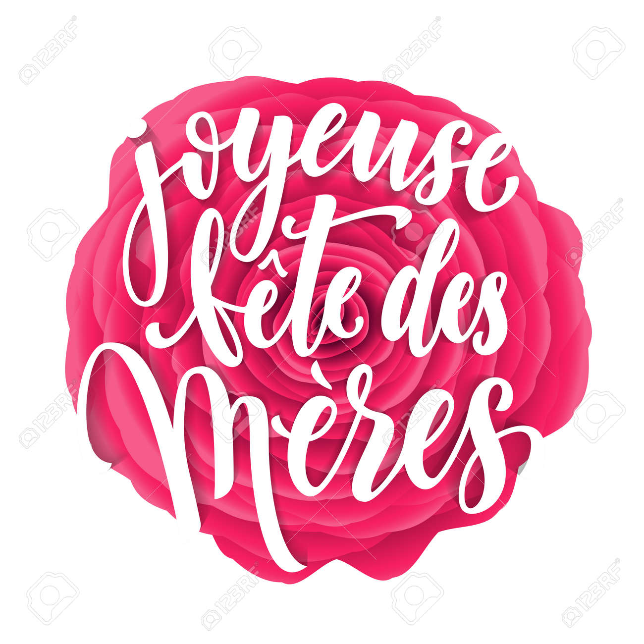 Joyeuse Fete Des Meres. Mother Day Vector Greeting Card. Mothers ...