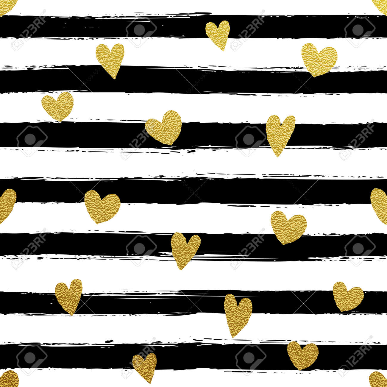Glitter gold striped wallpaper. Paint brush strokes background. Black and white calligraphy stripes. Golden heart pattern. Hipster trendy vector illustration. - 57341605