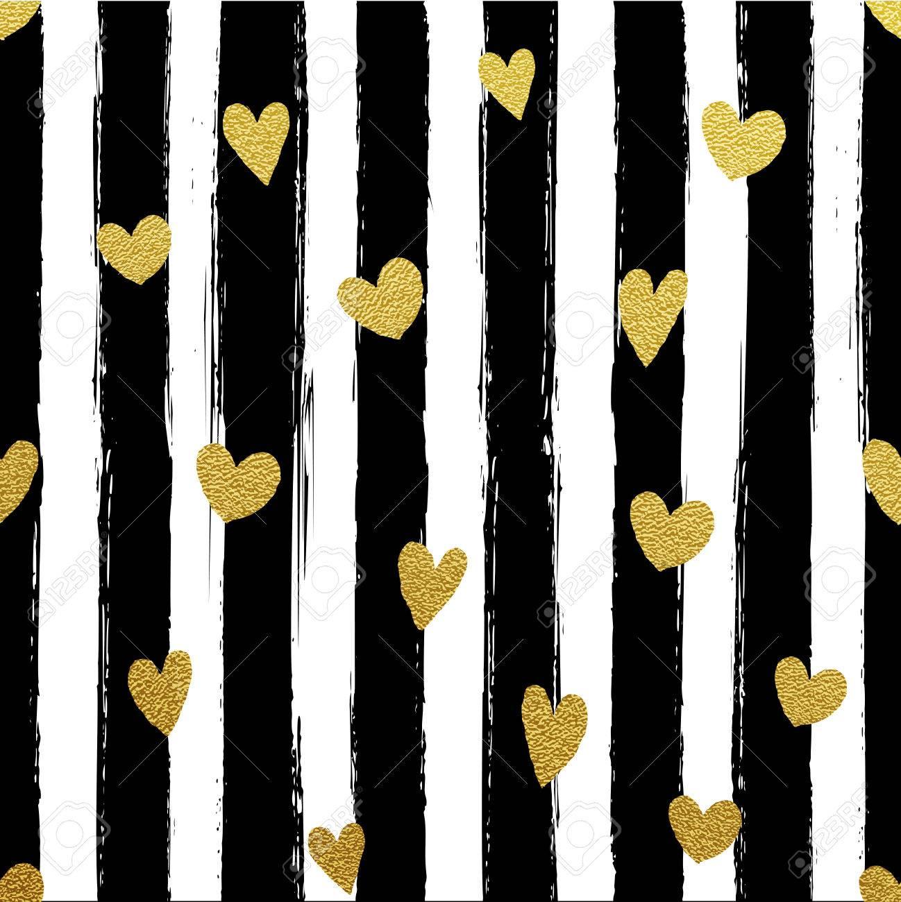 Glitter Gold Gestreifte Tapete Pinsel Streicht Hintergrund