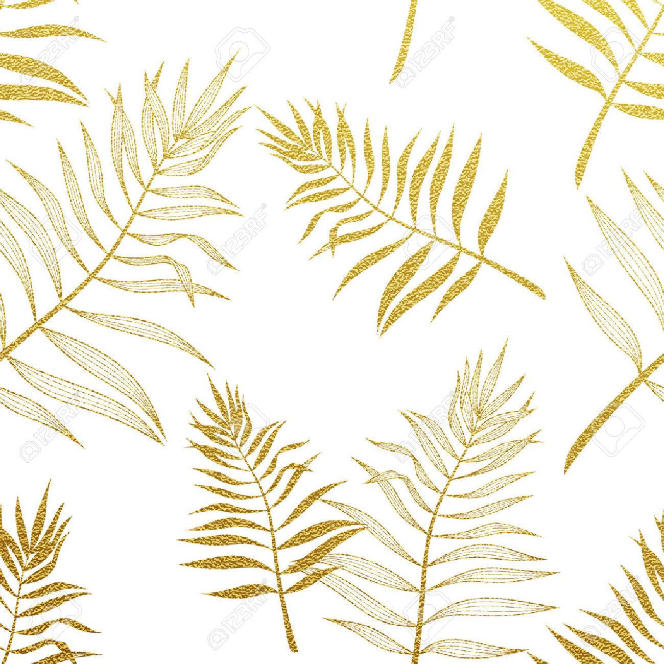 Palm Leaves Golden Seamless Pattern Vector Botanical Illustration Gold Glitter Leaf Hand