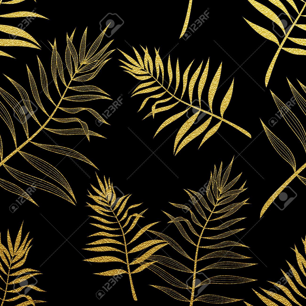 Palm Laisse Un Motif Sans Soudure Dore Illustration Botanique De