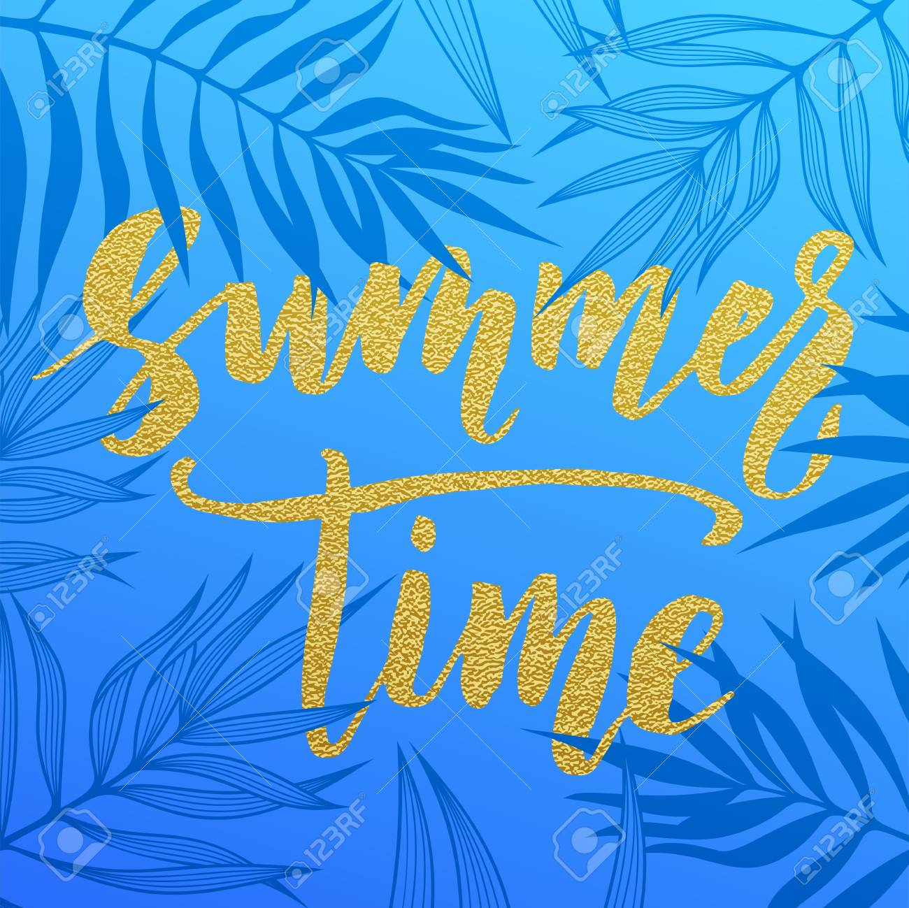 Summer Time Palm Leaves Pattern Card Hand Drawn Gold Lettering Background Golden Wallpaper