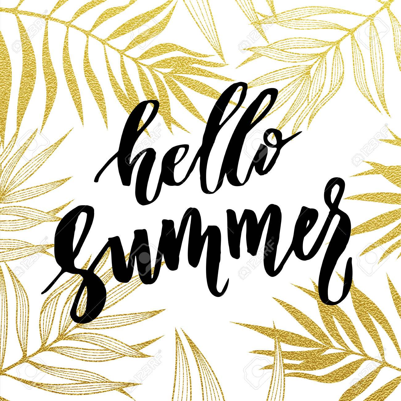 Hello Summer card. Gold tropical leaves seamless pattern. - 57606374