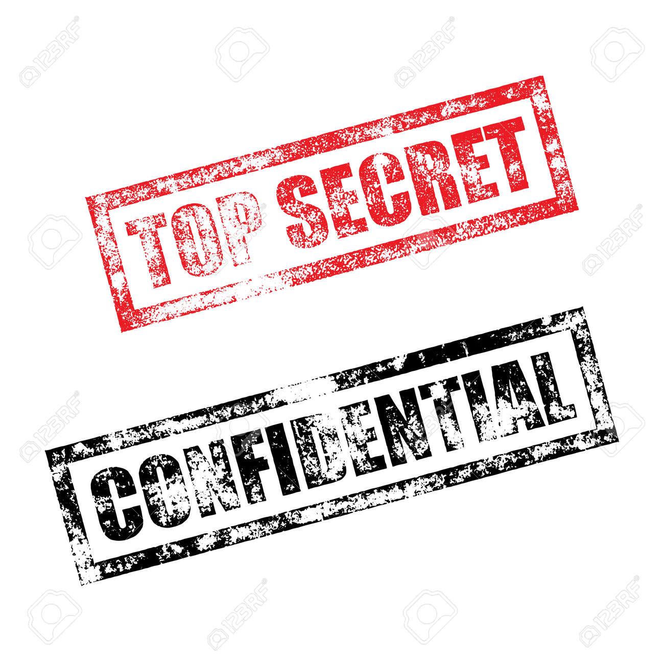 Top Secret Stamp Of Red Grunge Square Vintage Rubber Print Confidential Black File