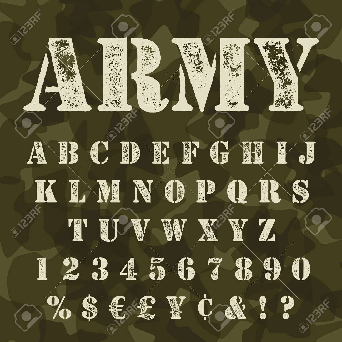 Military Stencil Alphabet Set Army Stencial Lettering With