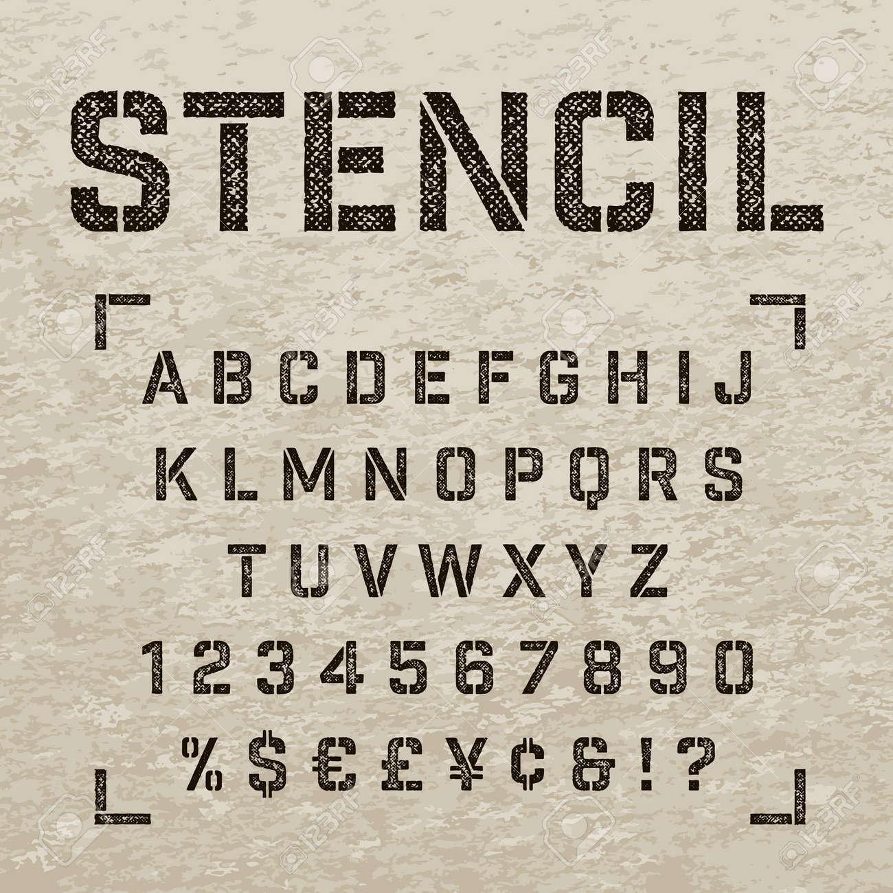 Alfabeto Plantilla Placa Con Efecto Cero Huella Letras En