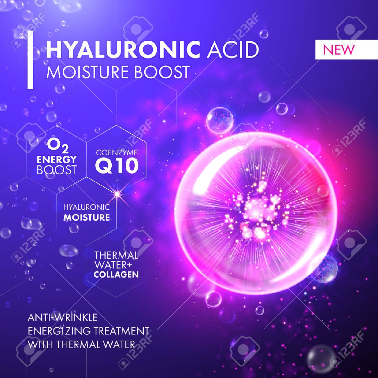 Hyaluronic Acid Moisture Boost. O2 collagen water molecule pink bubble drop. Skin care marine oxygen formula treatment design. Coenzyme anti wrinkle thermal water solution. - 59131583