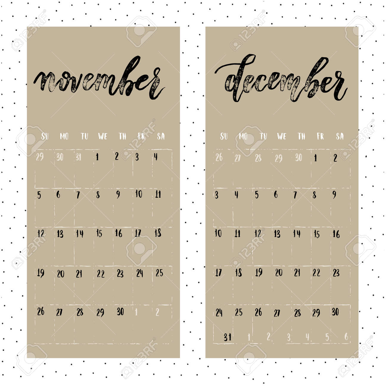 calendario 2017 año página para noviembre y diciembre calendario