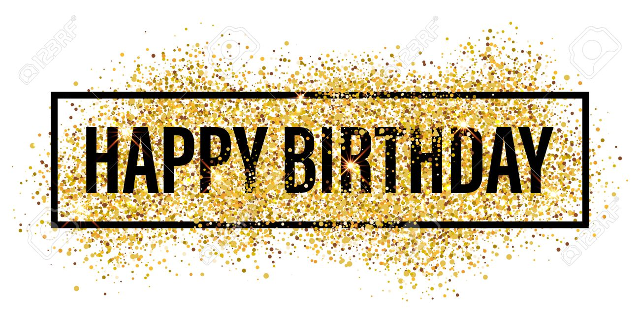 Happy Birthday Greeting Card Gold Glitter Flare Background
