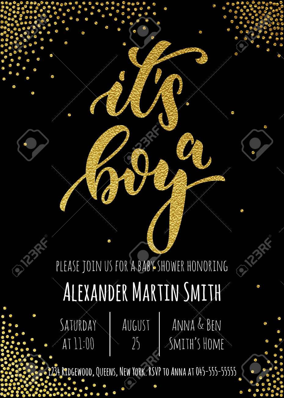 it's a boy invitation party card template. hand drawn golden