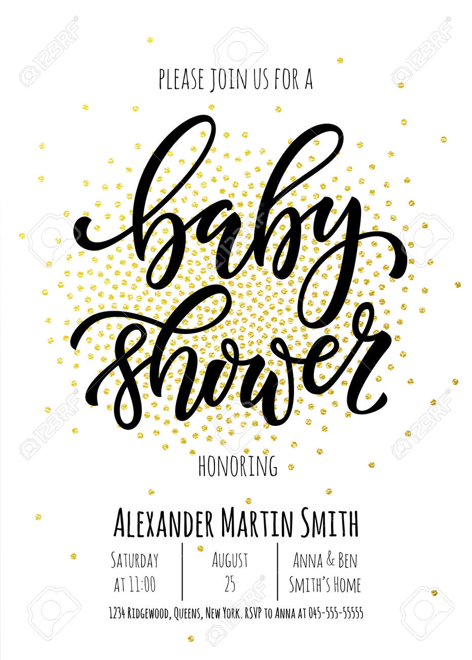 Baby Shower Invitation Card Template. Classic Black Calligraphy ...