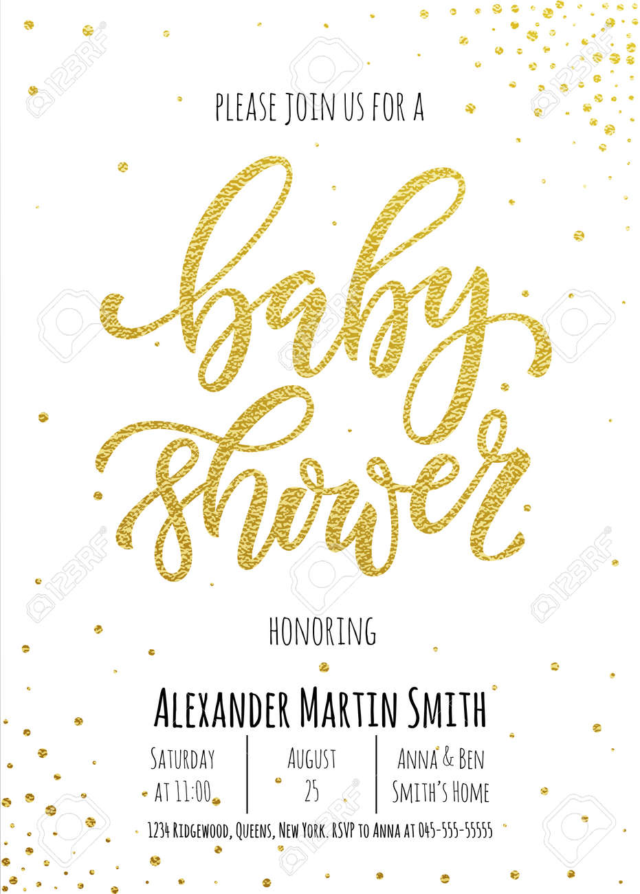 Baby shower invitation card template classic golden calligraphy baby shower invitation card template classic golden calligraphy vector lettering white background with gold filmwisefo