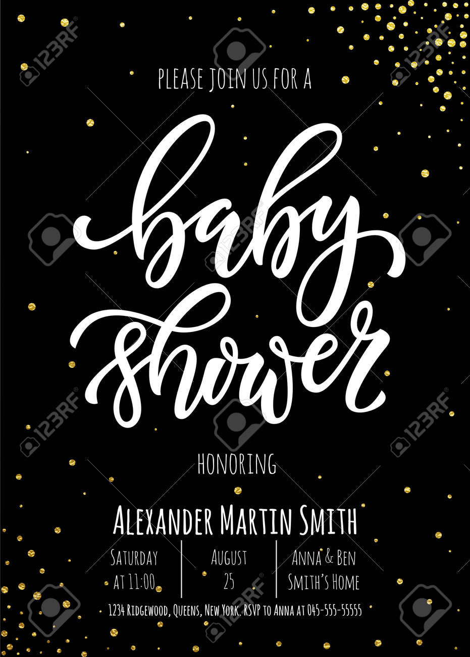 Baby Shower Invitation Card Template Classic White Calligraphy