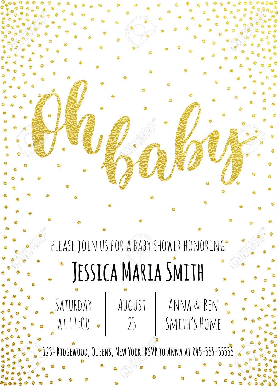 Oh Baby. Baby Shower Invitation Card Template. Classic Golden ...