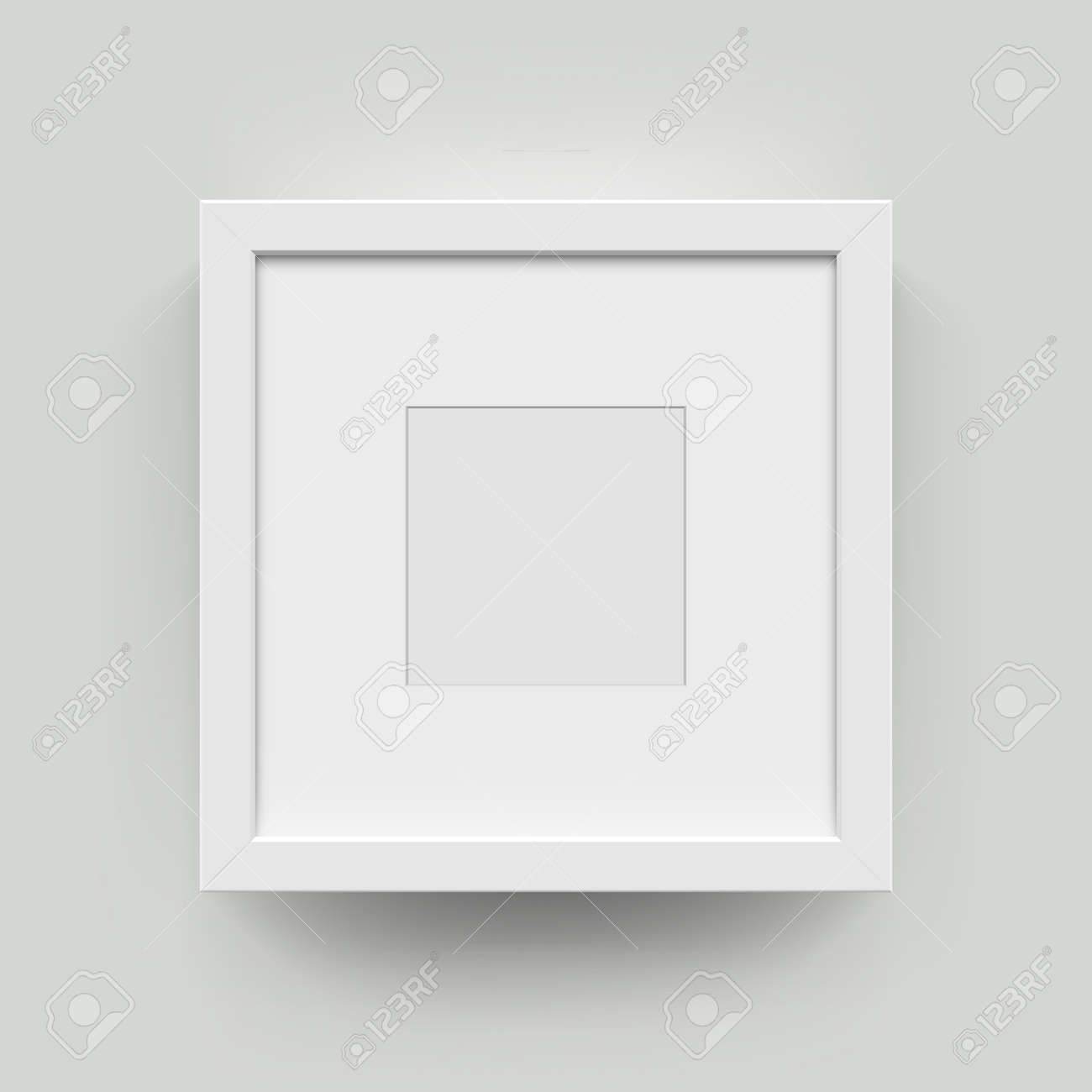 Square blank picture frame for photographs. Vector realisitc paper or plastic white picture-framing mat with wide borders shadow. Isolated picture frame mockup template on wall background - 61153380