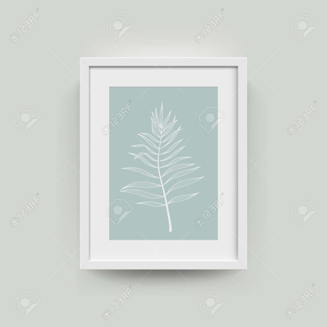 Picture Frame With Palm Leaf Photograph. Vector Realisitc Paper ...