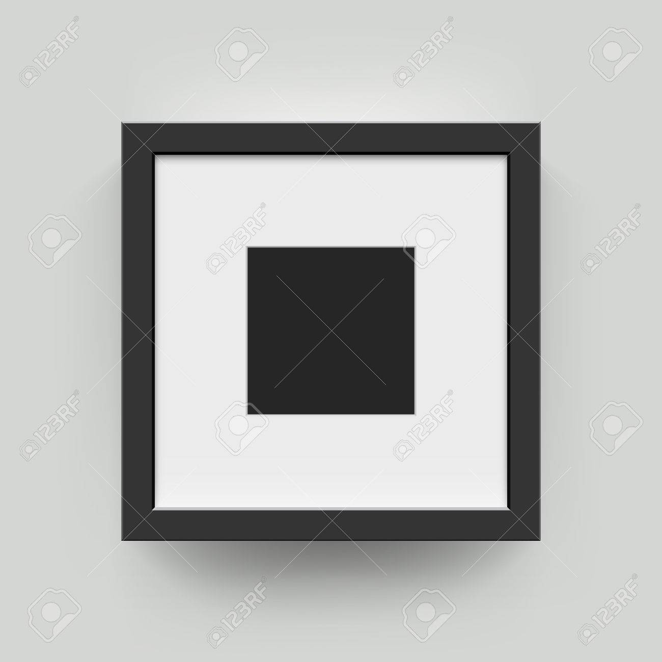 Square Blank Picture Frame For Photographs. Vector Realisitc ...