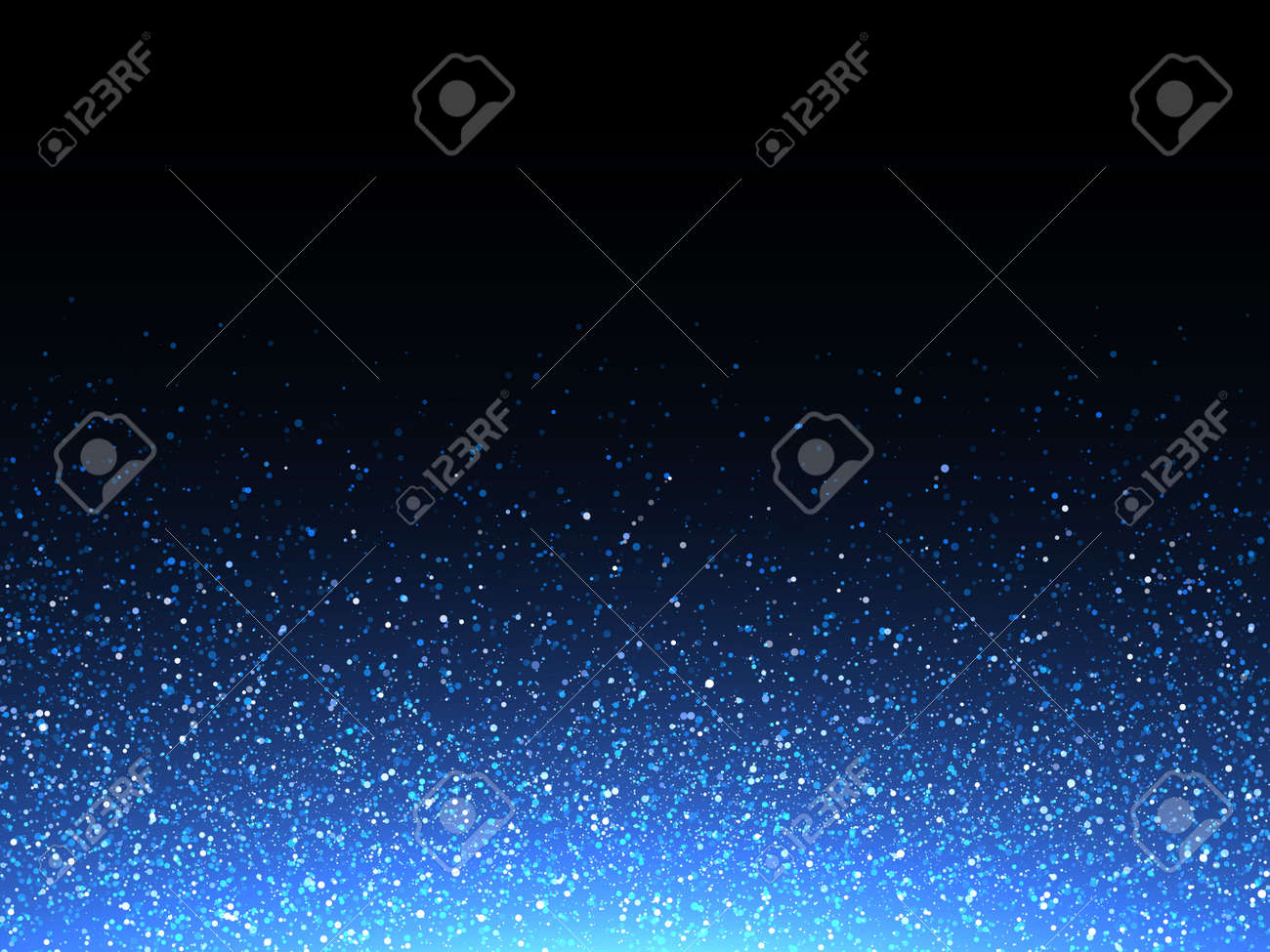 Blue glitter spray texture background. Vector glittering particles of crystal snowflakes on black. Cosmic light shine dispersion - 61153642