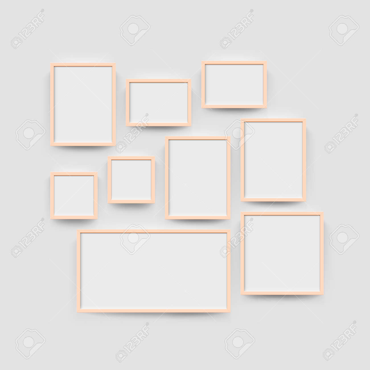 Picture Frame Set For Photographs. Vector Realisitc Paper Or ...