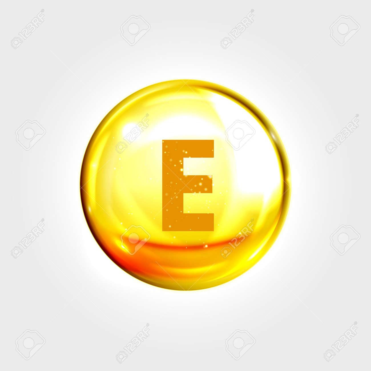 Vitamin E gold icon. Vitamin tocopherol (tocotrienol) drop pill capsule. Vector shining golden essence droplet. Beauty treatment nutrition skin care design - 61894396