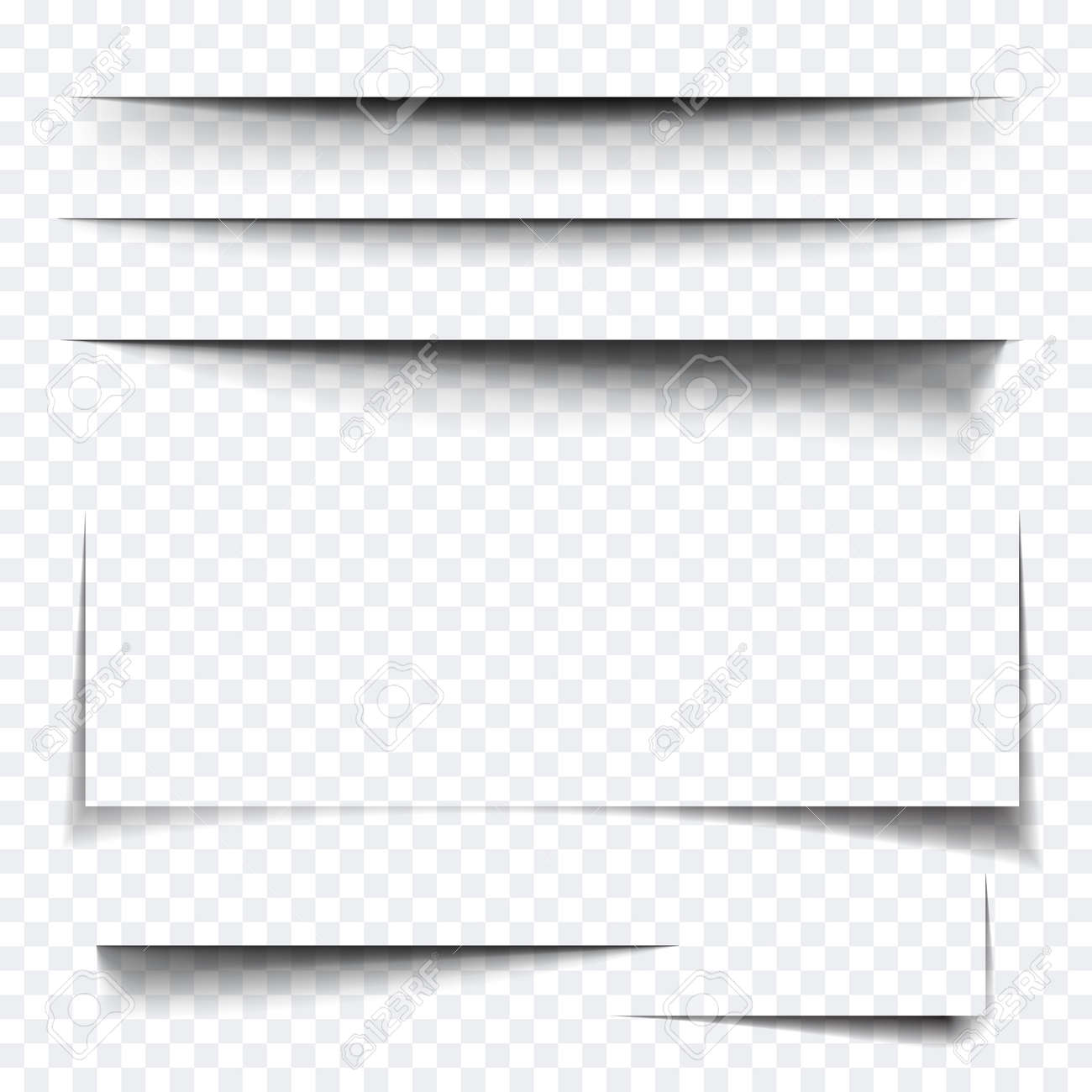 Paper sheet shadow effect. Vector transparent realistic shadows set for advertising banner templates.Vector shadow with multiply layer effect - 62069232