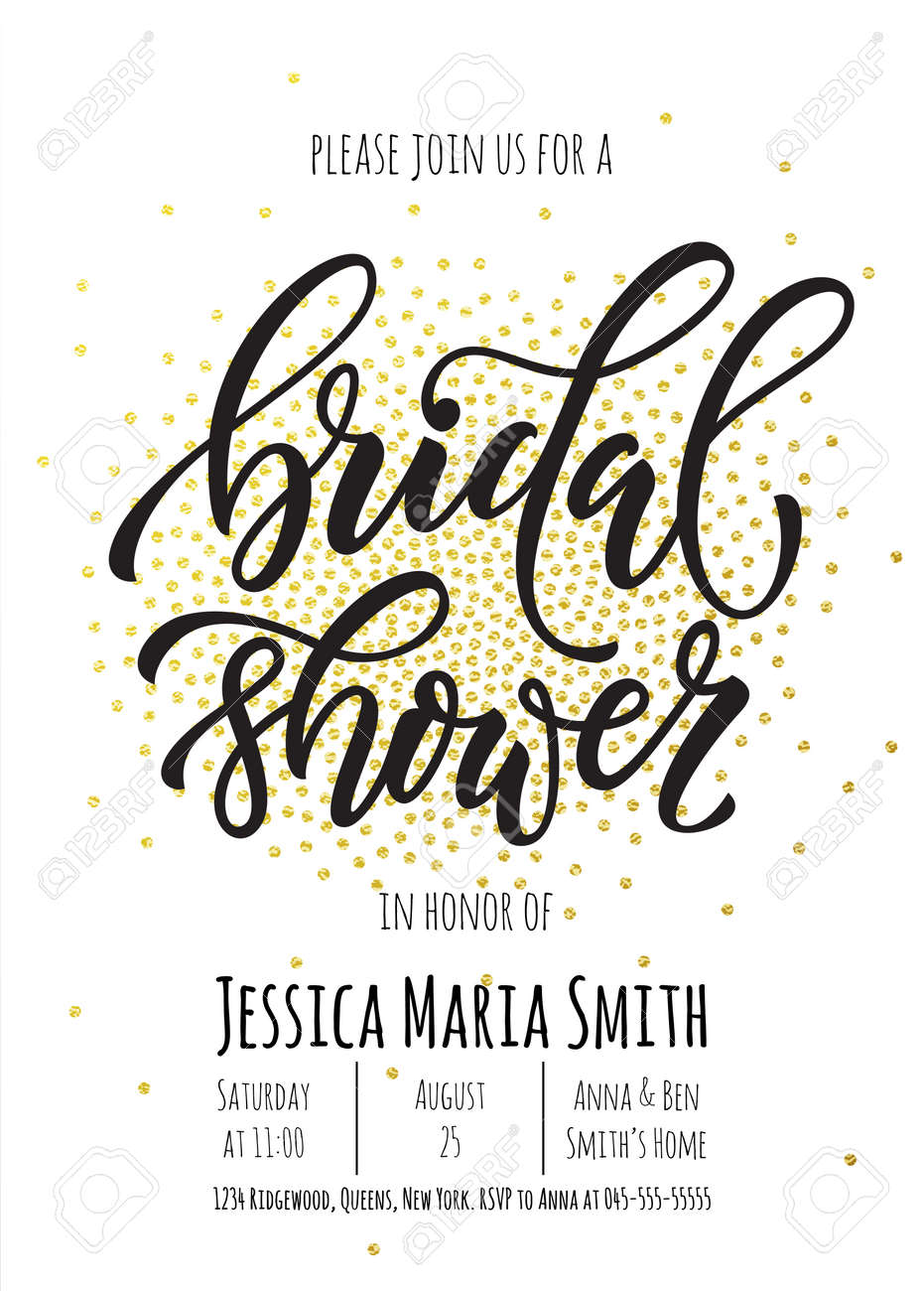 bridal shower invitation card template classic gold calligraphy vector lettering white background with golden