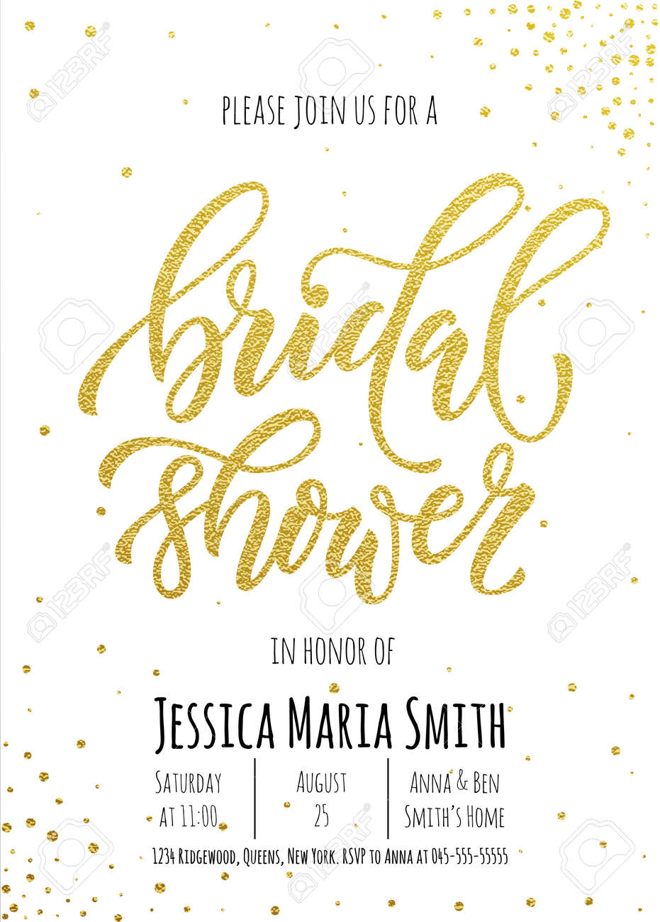 bridal shower invitation card template classic gold calligraphy