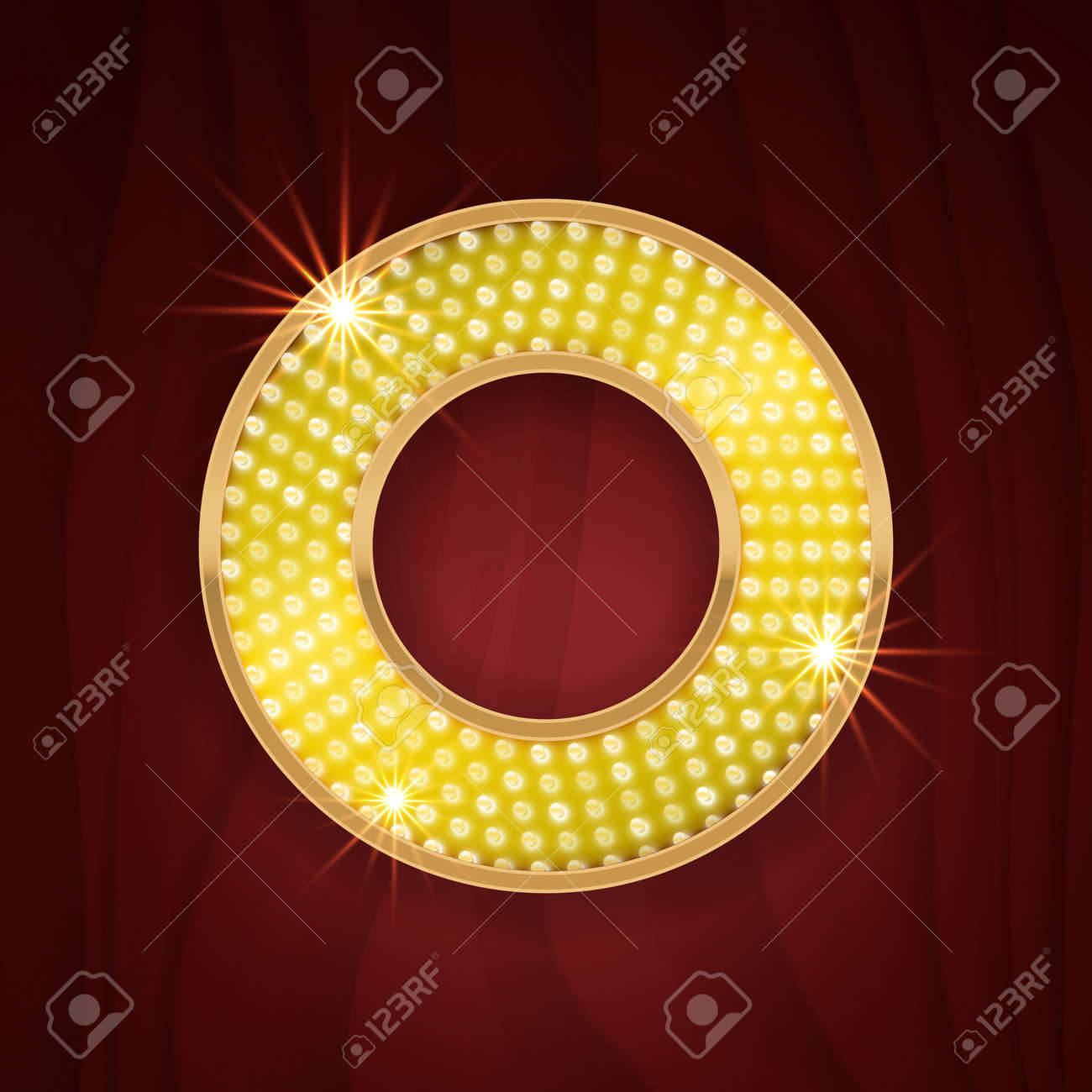 Gold Light Lamp Bulb Letter O  Sparkling Lightning Glitter Shine