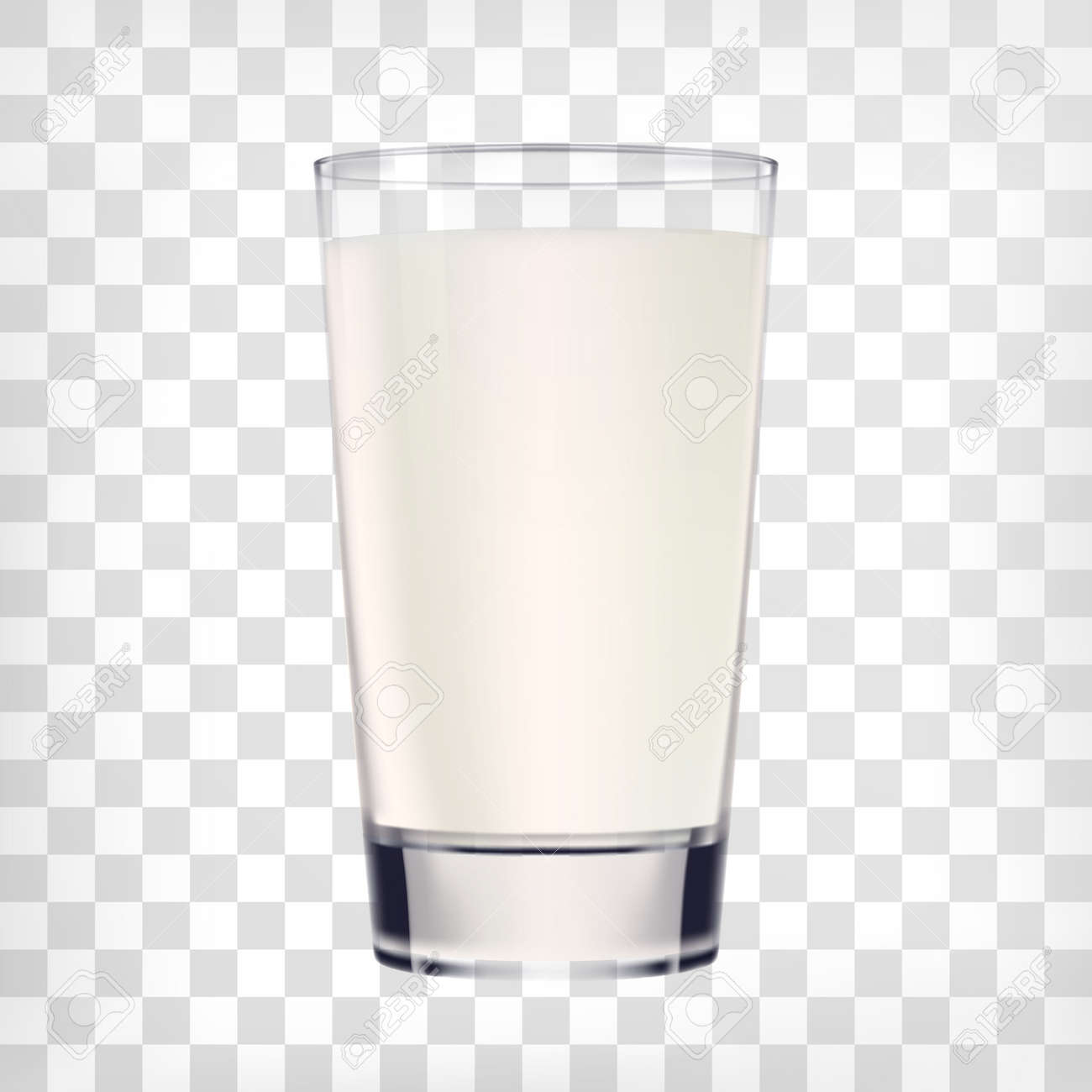 Milk glass on transparent background. Vector glass cup of milk illustration - 63134807