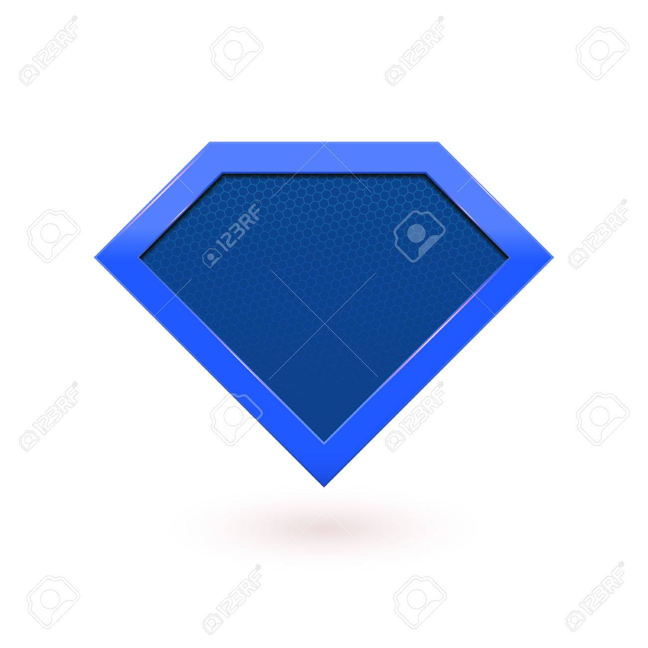 Super hero comic character emblem  Blue shield icon  Vector diamond