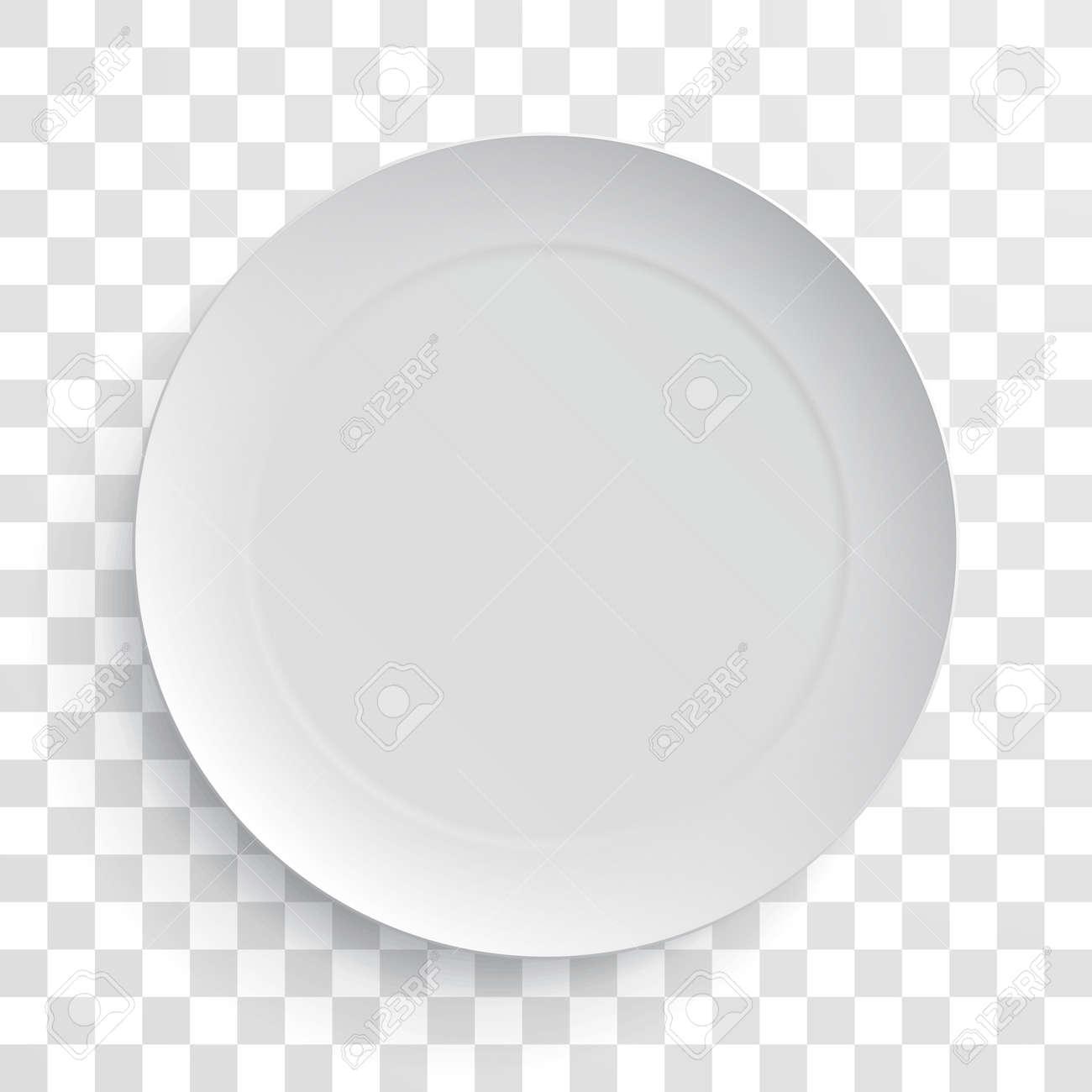 Empty white dish plate isolated 3d mockup model. Vector round porcelain, ceramic dinner plate. Illustration on transparent background - 63134823
