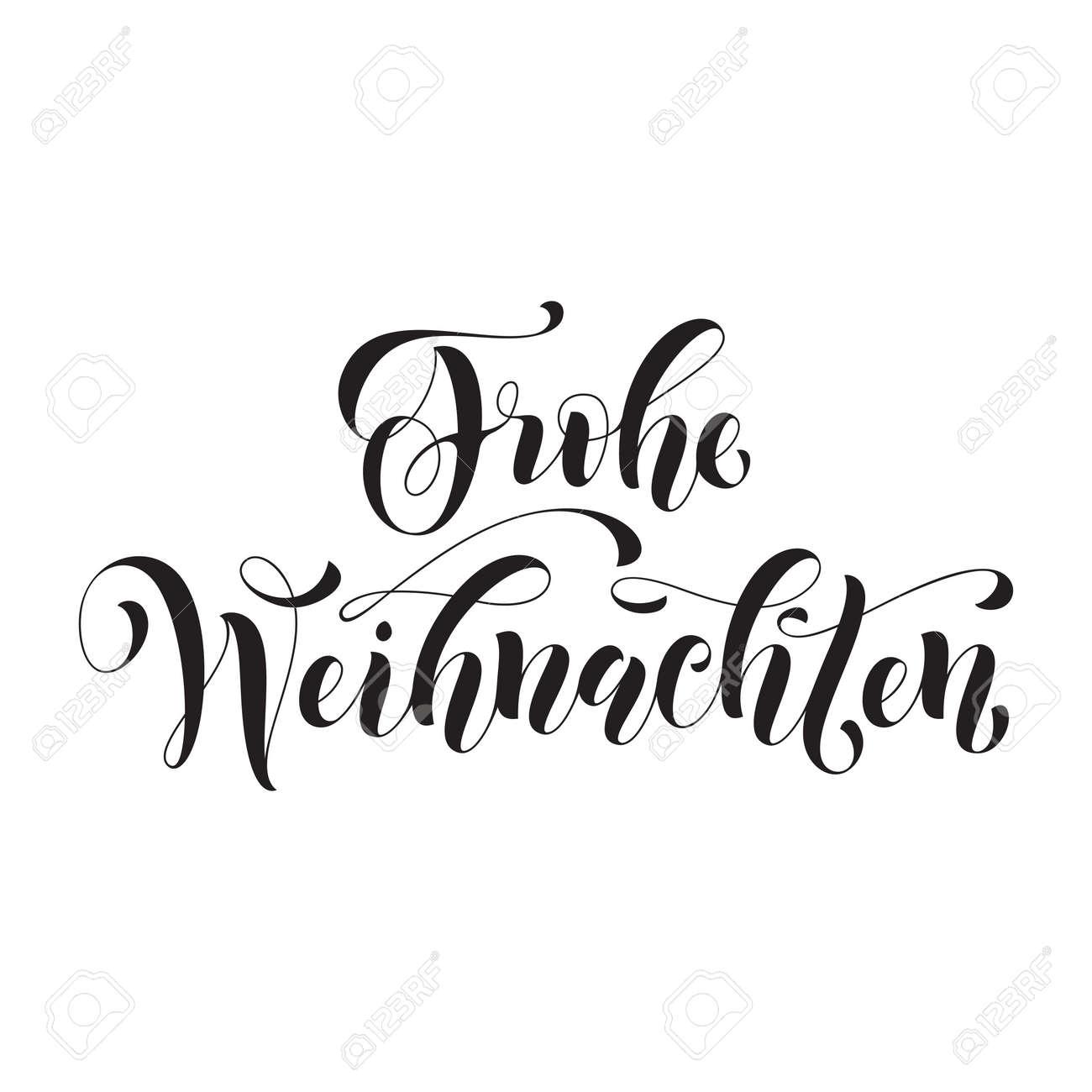 Text Frohe Weihnachten.Frohe Weihnachten German Christmas Greeting Card Vector Hand