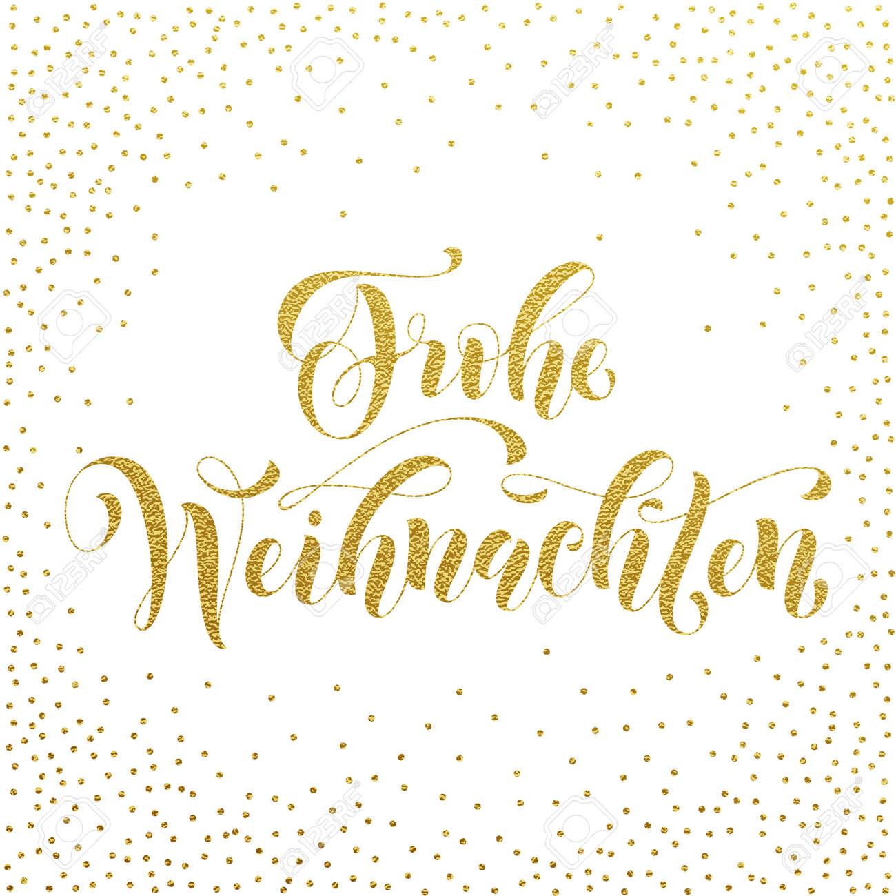 Frohe Weihnachten Text.Frohe Weihnachten German Christmas Gold Glitter Lettering For