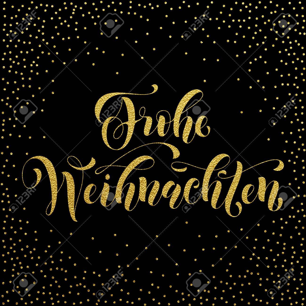 Frohe Weihnachten Gold.Frohe Weihnachten German Christmas Gold Glitter Lettering For