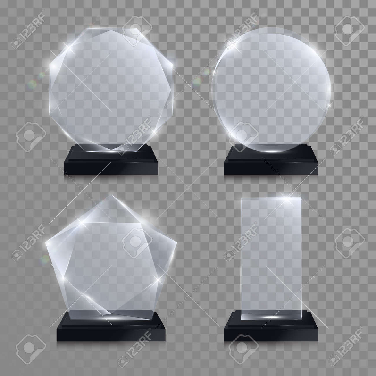 Glass trophy awards set. Vector crystal 3D transparent award mockup with pedestal on gray background. Glass acrylic prize round circle model for engraving. Round circle, square, octagonal, star shape - 64530680