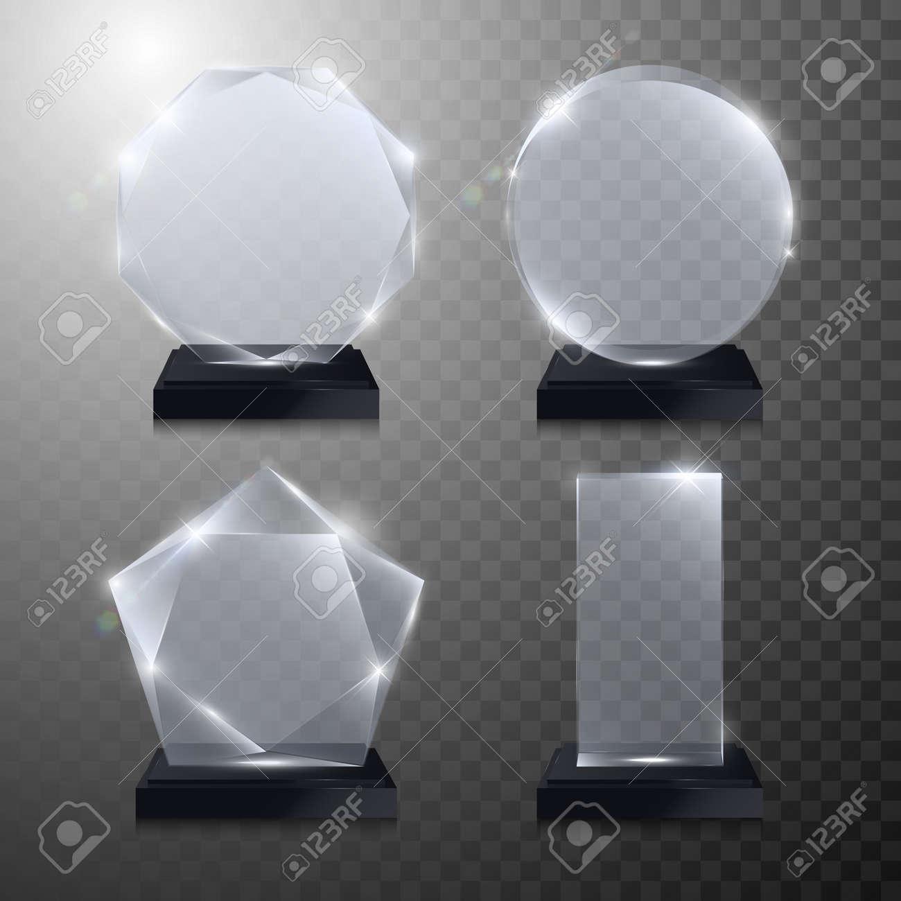 Glass Trophy Awards Set Vector Crystal 3D Transparent Award