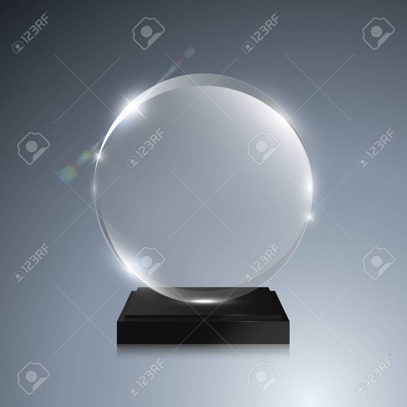 Glass Trophy Award Vector Crystal 3D Transparent Mockup With Pedestal On Gray Background