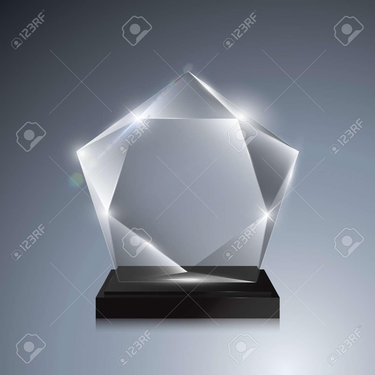 Glass Trophy Award Vector Crystal 3D Transparent Award Mockup