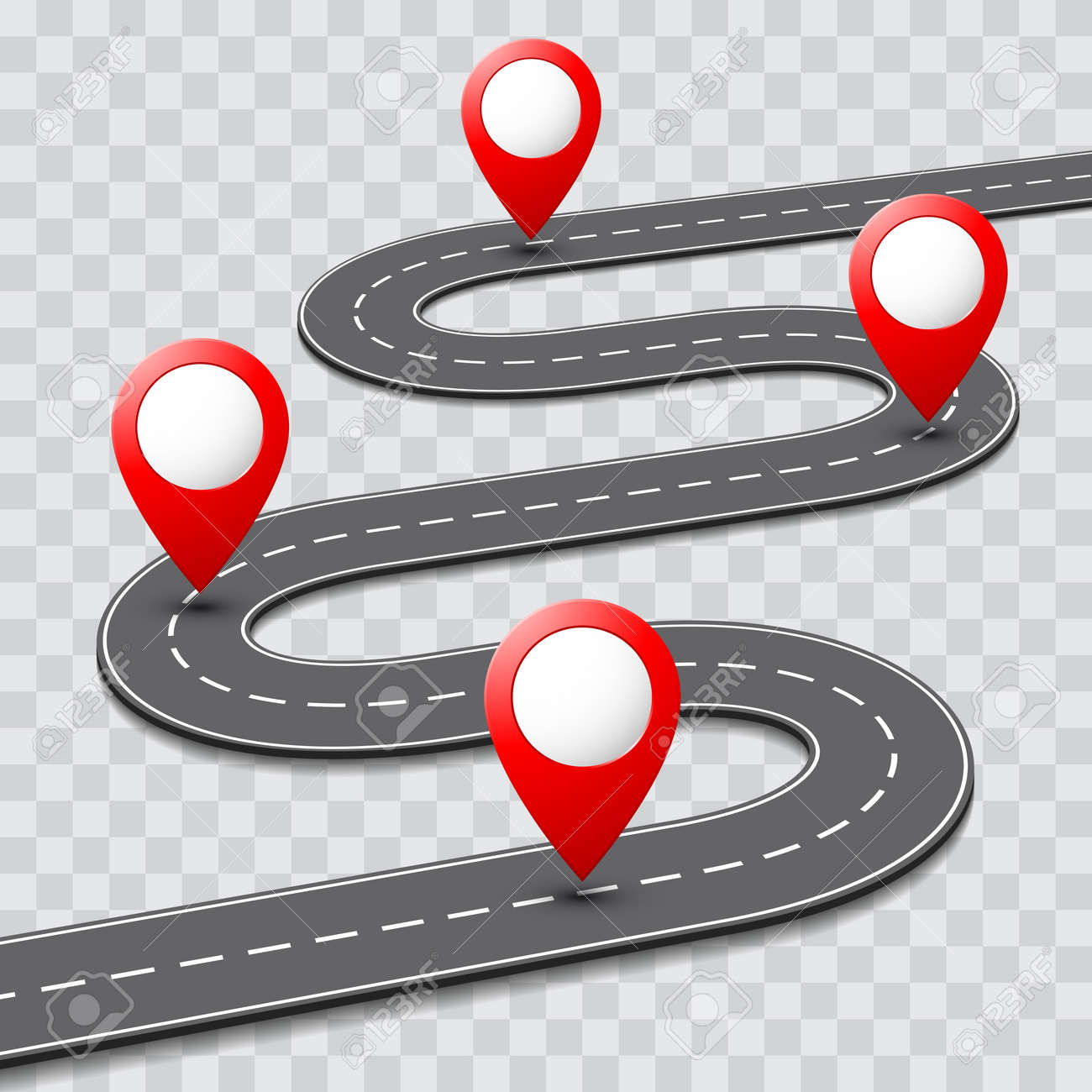 Vector pathway road map with route with location pin icon on..