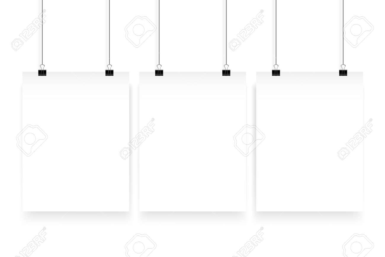 Affiche De Papier Mockup Maquette Vecteur Panneau De Papier Blanc Accroche Sur Le Clip De Bureau Toile Galerie De Papier Mis Sur Fond Blanc