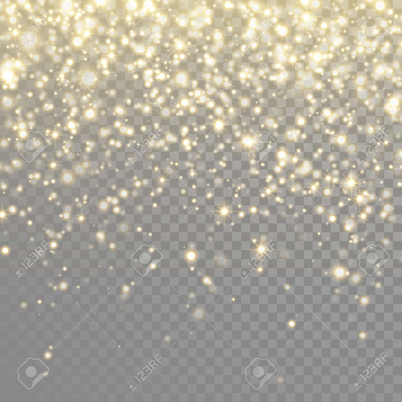 Vector gold glitter particles background light effect for luxury