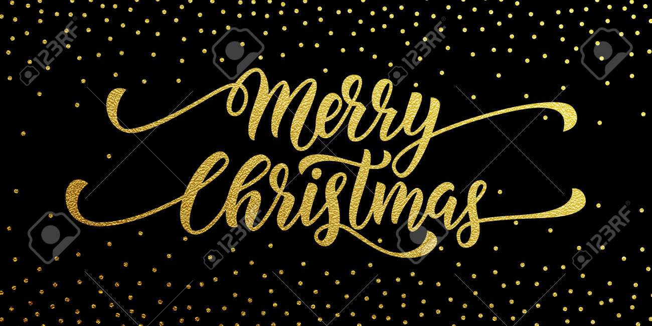 Merry Christmas Gold Glitter Lettering Design Greeting Card Poster Golden Glittering Snow